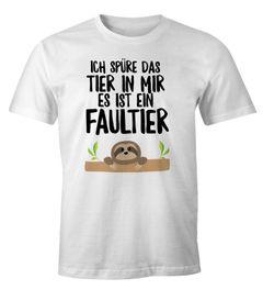 Faultier Herren T-Shirt Ich spüre das Tier in mir, es ist ein Faultier Fun-Shirt Moonworks®