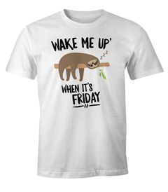 Herren T-Shirt Faultier Sloth Wake me up when it's Friday Fun-Shirt Moonworks®