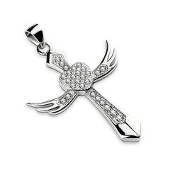 Anhänger Kreuz Flügel Herz Edelstahl Halskette Zirkonia Kristalle Lederkette Damen Herren Cross Heart Wings