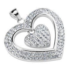 Anhänger Herz Heart Edelstahl Halskette Zirkonia Kristalle Lederkette Damen Herren