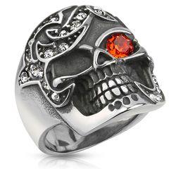 Totenkopf Ring Herren Edelstahl Kristall Zirkonia Biker Skull Ring Gothic Massiv