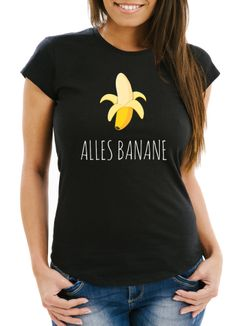 Damen T-Shirt Banana Alles Banane Motiv Slim Fit Moonworks®