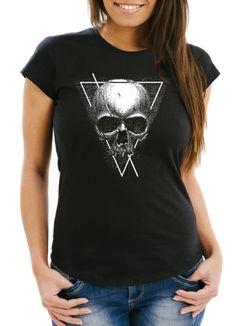 Damen T-Shirt Neverless Skull Totenkopf Hipster Triangle Slim Fit Neverless®