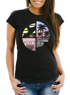 Damen T-Shirt California Surfing Slim Fit Moonworks®