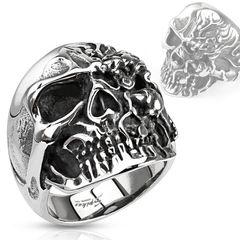 Totenkopf Terminator Ring Cyborg Herren Edelstahl Biker Gothic Massiv