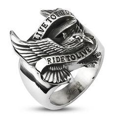 Live to Ride - Ride to Live Biker Ring Adler Flügel Herren Männer Edelstahl