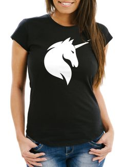 Damen T-Shirt Einhorn Unicorn Slim Fit Moonworks®