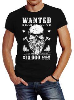 Herren T-Shirt Holzfäller Wanted Bart Totenkopf Lumberjack Neverless®