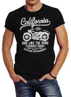 Herren T-Shirt California Motorbike Slim Fit Neverless®