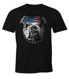 Herren T-Shirt American Bulldog mit USA Flagge Moonworks®