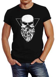 Herren T-Shirt Totenkopf mit Bart Triangle Slim Fit Neverless®