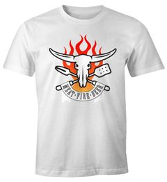 Herren T-Shirt Meat Fire Beer Fun-Shirt Moonworks®
