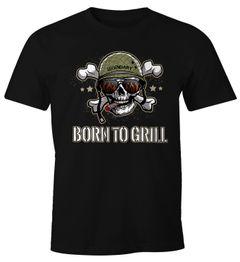 Born To Grill Lustiges Herren T-Shirt für den ambitionierten Grill-Meister Moonworks®