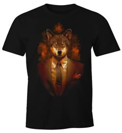 Herren T-Shirt Fuchs Tier Lustig Fun-Shirt Moonworks®