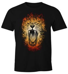 Herren T-Shirt Löwe Lion Inferno Fun-Shirt Moonworks®