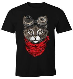 Herren T-Shirt Katze Cat Steam-Punk Moonworks®