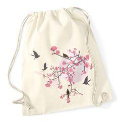 Turnbeutel Kirschblüten Vögel Vogel Blumen Blüten Flower Cherry Tree Birds Autiga®