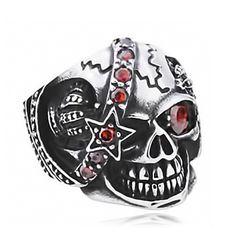 Totenkopf Ring Herren Edelstahl Biker Skull Sterne Funkel Auge Kristall Silber