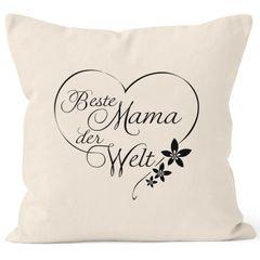 Kissenbezug Beste Mama der Welt Geschenk für Mutter Muttertag 40x40 Baumwolle MoonWorks®