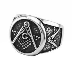 Freimaurer Ring Herren Edelstahl Tempelritter Ring Masonic Siegelring