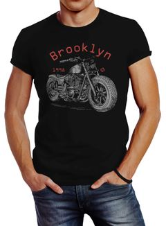 Herren T-Shirt Motorrad Motorbike Brooklyn Slim Fit Neverless®