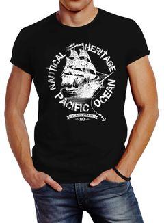 Herren T-Shirt Segelschiff Piratenschiff Slim Fit Neverless®