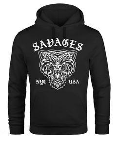 Hoodie Herren Tiger Vintage Print Kapuzen-Pullover Männer Neverless®