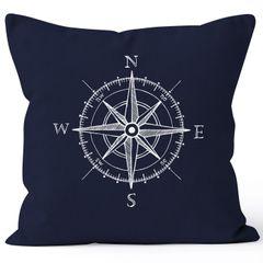 Kissenbezug Wind-Rose Kompass Kissen-Hülle Deko-Kissen 40x40  Baumwolle MoonWorks®