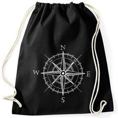 Turnbeutel Wind-Rose Kompass Hipster Beutel Tasche Sportbeutel Gymsac Gymbag Moonworks®