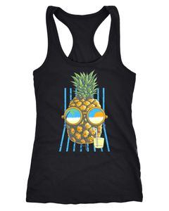 Damen Tank-Top chilling Ananas Racerback Neverless®