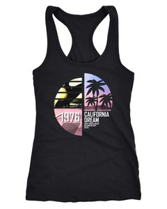 Damen Tank-Top California Surfing Palmen Summer Racerback-Tank Neverless®
