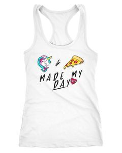 Damen Tanktop Einhorn & Pizza made my day Sprüche Spruch Racerback Tank-Top Moonworks®