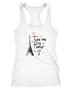 Damen Tanktop Take me to Paris Eiffelturm Eiffeltower Herzen Heart Racerback Moonworks®