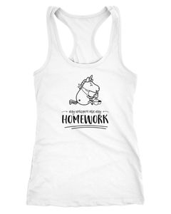 Damen Tanktop Einhorn My Unicorn ate my Homework Sprüche Spruch Racerback Moonworks®