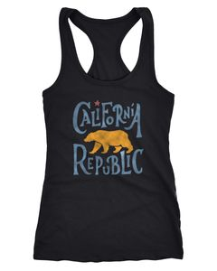 Damen Tank-Top California Republic Kalifornien Bär Racerback Neverless®