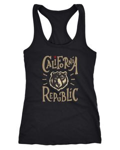 Damen Tanktop California Republic Bear Kalifornien Bär Racerback Tank Top Neverless®