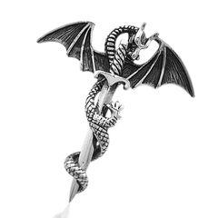 Anhänger Drache Schwert Kreuz Edelstahl Halskette Lederkette Kugelkette Gothic Damen Herren