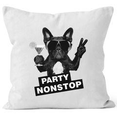 Kissenbezug Party Nontsop Mops French Bulldog Kissenhülle Dekokissen 40x40  Baumwolle MoonWorks®