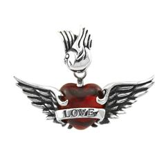 Anhänger Herz Flügel Love Edelstahl Halskette Liebe Zirkonia Kristall Lederkette Kugelkette Damen Herren Rot