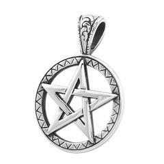 Anhänger Pentagramm Stern Edelstahl Halskette Lederkette Kugelkette Gothic Damen Herren