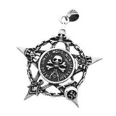 Anhänger Freimaurer Totenkopf Pentagramm Stern Edelstahl Halskette Lederkette Kugelkette Masonic Gothic Damen Herren
