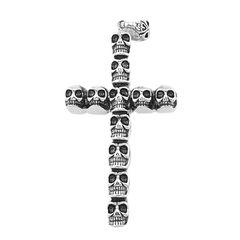Anhänger Kreuz Totenkopf Edelstahl Halskette Massiv Lederkette Gothic Kugelkette Herren Damen