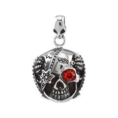 Anhänger Totenkopf Skull Kristall Auge Rot Sterne Edelstahl Halskette Lederkette Gothic Biker Kugelkette Herren Damen