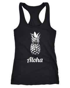 Damen Tanktop Aloha Ananans Pineapple Racerback Moonworks®