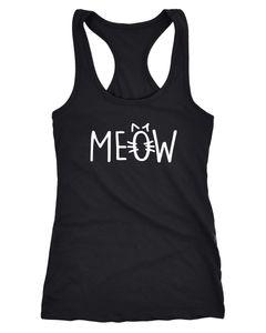 Damen Tanktop Katze Meow Miau Cat Racerback Moonworks®