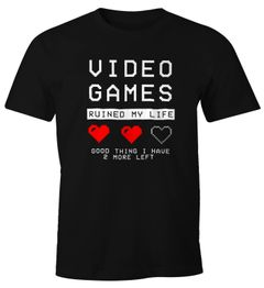 Herren T-Shirt Video Games ruined my Life good thing I have 2 more left Fun-Shirt Moonworks®