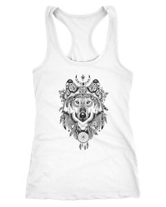 Damen Tank-Top Wolf Zentangle Atzekenmuster Boho Bohamian Atzec Animal Ethnic Racerback Neverless®