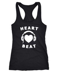 Damen Tanktop Heart Beat Herz Kopfhörer Musik Headphones Heart Racerback Moonworks®