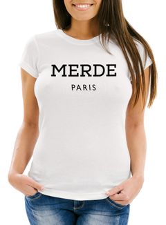 Damen T-Shirt Merde Paris Slim Fit Moonworks®