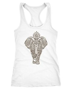 Damen Tank-Top Zentangle Elefant Mandala Boho Bohemain Elephant Racerback Neverless®